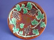 Antique Majolica 'Grape Vine' Shallow Dish c1880